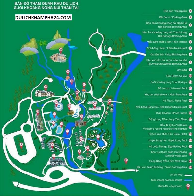 Map of tourist attractions Mount Than Tai